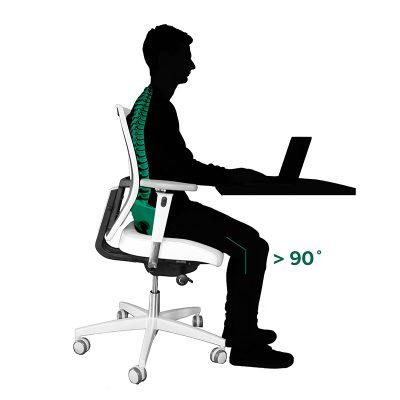 Zorg dat je benen in een hoek van 90 graden staan.